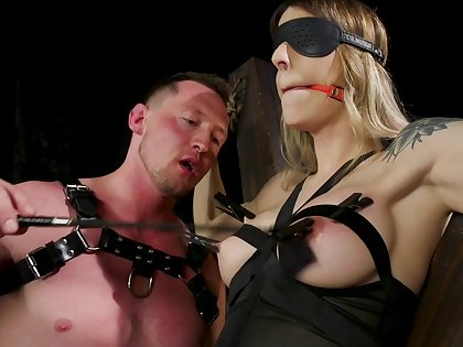 Busty shemale plays obedient for male master with huge dick