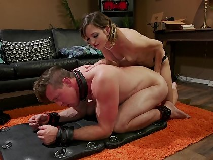 Dominant babe fucks guy in the ass then sucks his dick