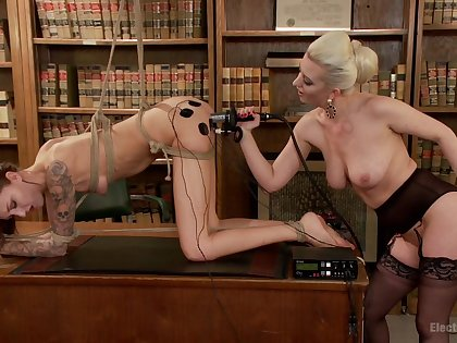 Kendra Cole and Rose-red Ravelled experiment nearly enslavement and electro-stimulation