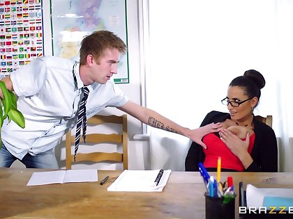 Female boss Carnal Jane in stockings riding her assistant's dick