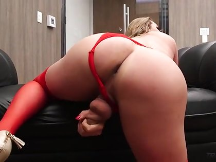 Sexy shemale strokes cock and cums