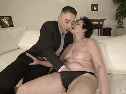 Horny granny is already wet enough of become absent-minded young man