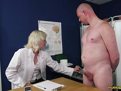 Crafty time this clothed female doctor plays with the brush patient's gumshoe