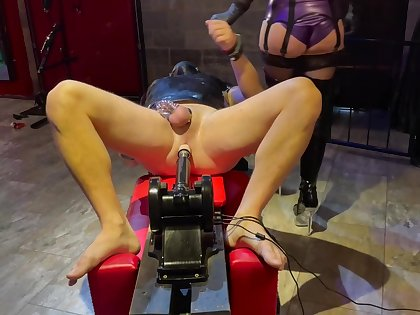 Femdom Bit of skirt Plays With Chastity Caged Slave, Ashamed Having Pain in the neck Fucked Wits Machine Added to Jammed
