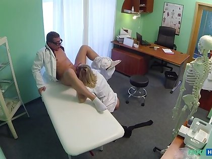 Naughty Peaches Nurse Gets Doctor's Attention And His Cum