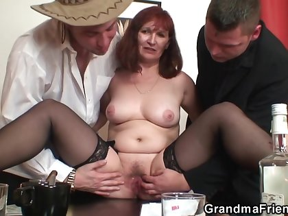 Grey Redhead Grandma Rides With the addition of Sucks Cock At Same Time